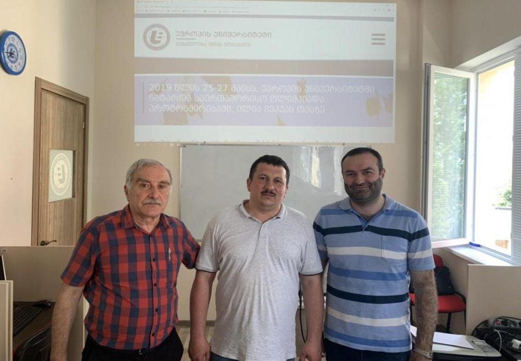 Олександр Міца з професорами Європейського університету